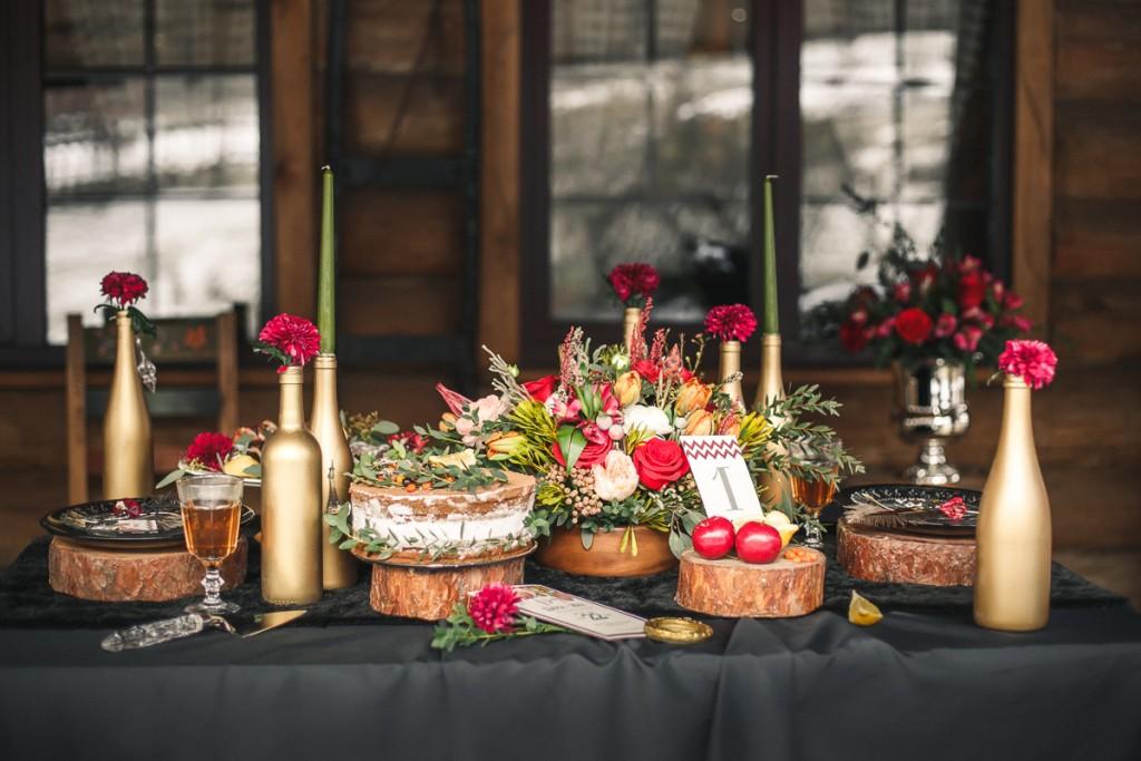 Оформление стола для осенней свадьбы